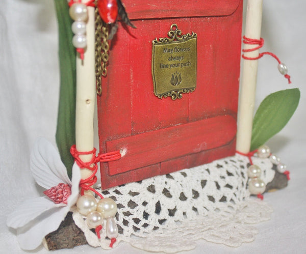 Pearls and Lace Red Fairy Door - Heather's Mystical Haven - 3
