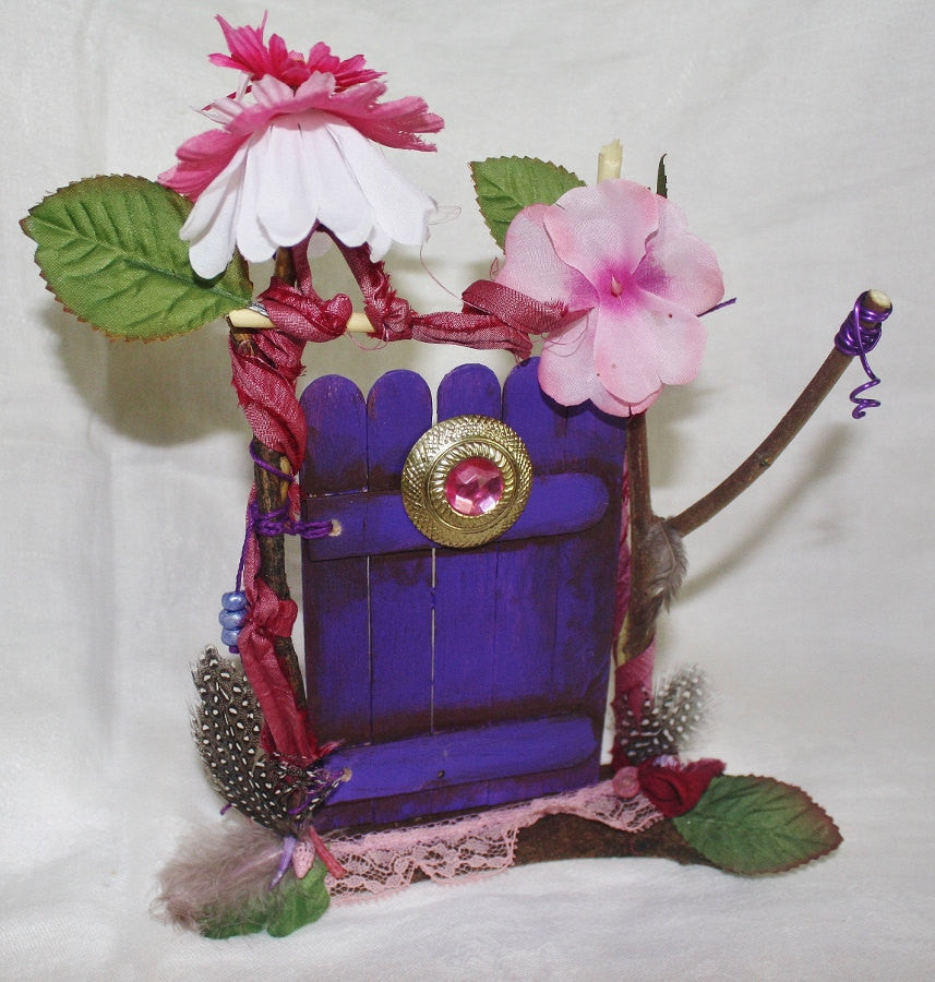 Purple Fairy Door with Pink Jewel - Heather's Mystical Haven - 1