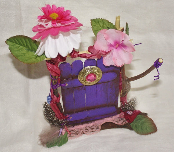 Purple Fairy Door with Pink Jewel - Heather's Mystical Haven - 2