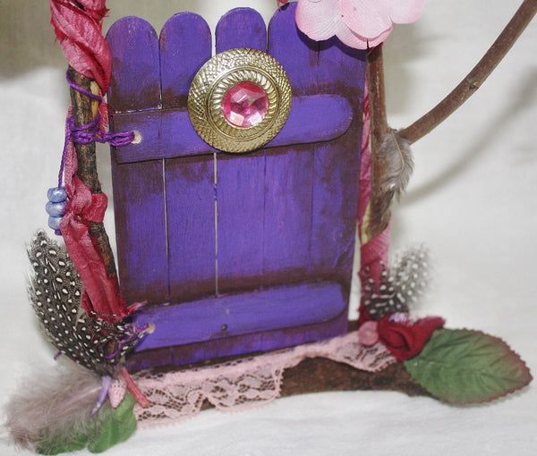 Purple Fairy Door with Pink Jewel - Heather's Mystical Haven - 3