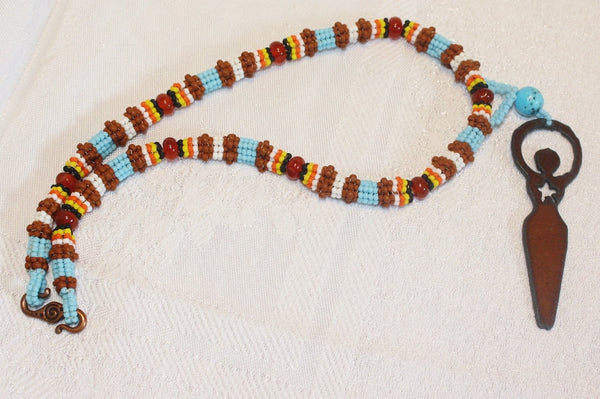 Star Goddess Turquoise and Carnelian Necklace - Heather's Mystical Haven - 3