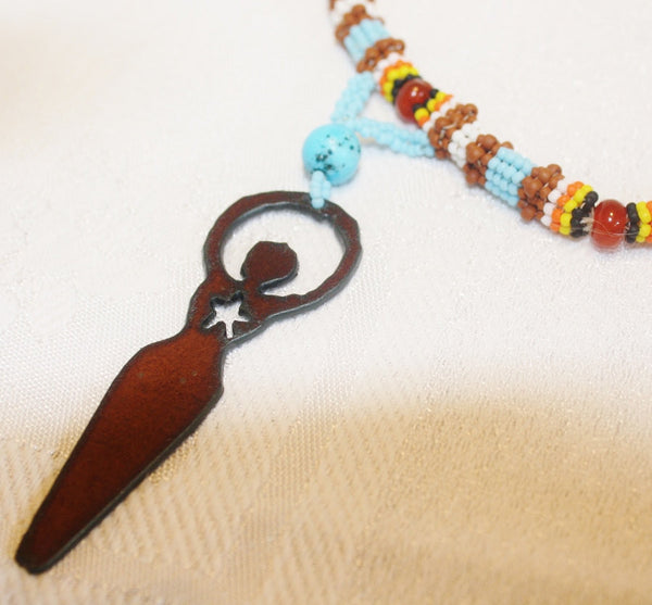 Star Goddess Turquoise and Carnelian Necklace - Heather's Mystical Haven - 5