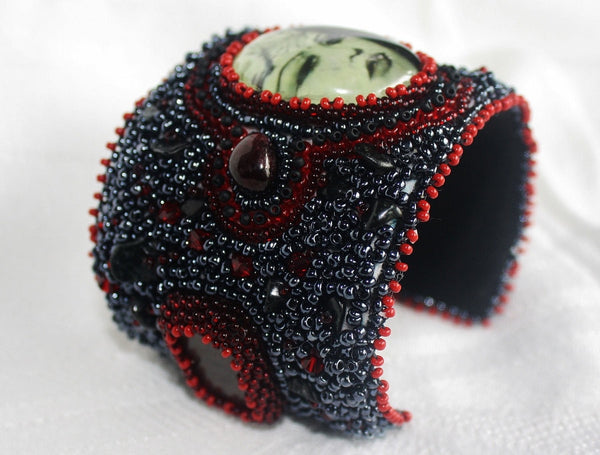 Kali Cuff with Garnet and Jade - Heather's Mystical Haven - 3