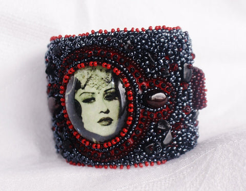 Kali Cuff with Garnet and Jade - Heather's Mystical Haven - 1