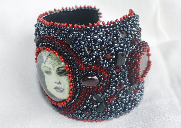 Kali Cuff with Garnet and Jade - Heather's Mystical Haven - 4