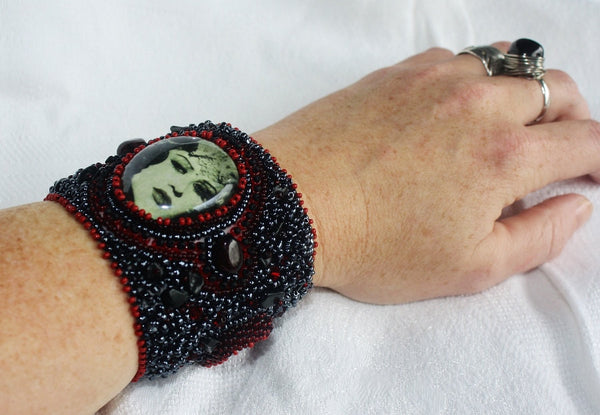 Kali Cuff with Garnet and Jade - Heather's Mystical Haven - 5