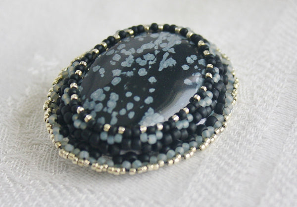 Snowflake Obsidian Brooch - Heather's Mystical Haven - 1