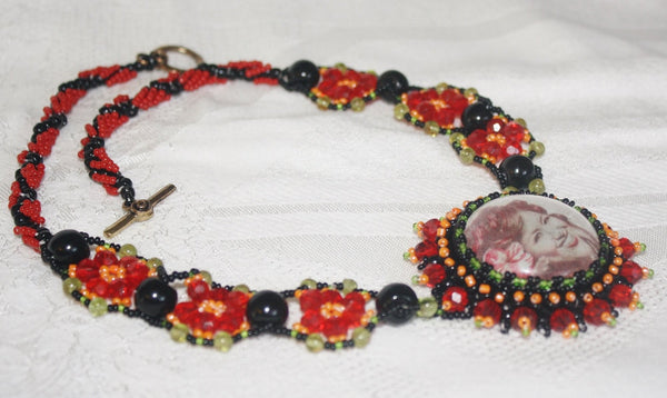 Pele's Passion Necklace with Peridot and Obsidian - Heather's Mystical Haven - 6