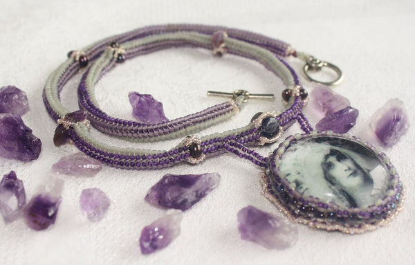 High Priestess Necklace with Amethyst and Iolite - Heather's Mystical Haven - 2
