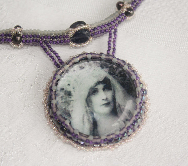 High Priestess Necklace with Amethyst and Iolite - Heather's Mystical Haven - 1