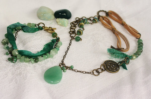Aventurine Mixed-media Boho Jewelry Set - Heather's Mystical Haven - 1