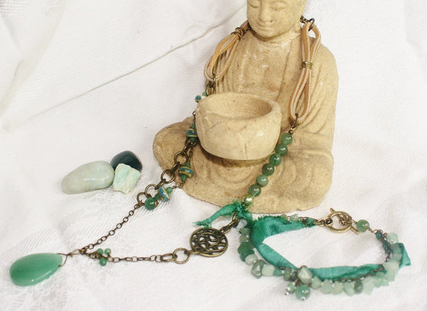 Aventurine Mixed-media Boho Jewelry Set - Heather's Mystical Haven - 3