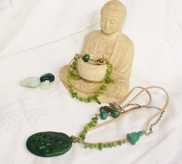 Buddha Change Mixed Media Boho Jewelry Set - Heather's Mystical Haven - 2