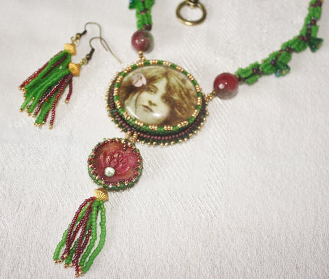 Green Tara Goddess Necklace Set. - Heather's Mystical Haven - 1