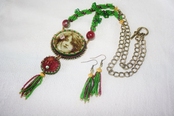 Green Tara Goddess Necklace Set. - Heather's Mystical Haven - 3