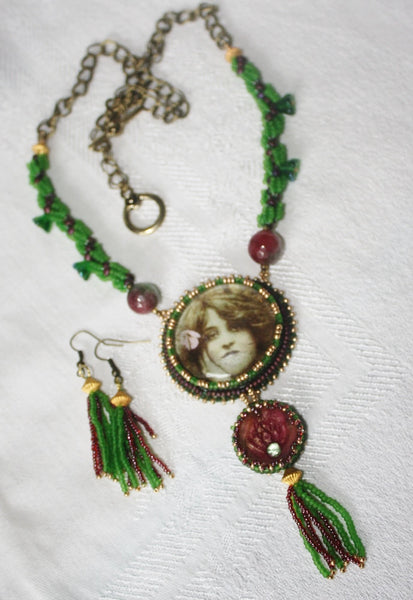 Green Tara Goddess Necklace Set. - Heather's Mystical Haven - 5