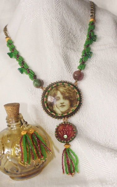 Green Tara Goddess Necklace Set. - Heather's Mystical Haven - 2