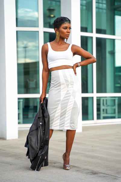 Suede Geometric Skirt