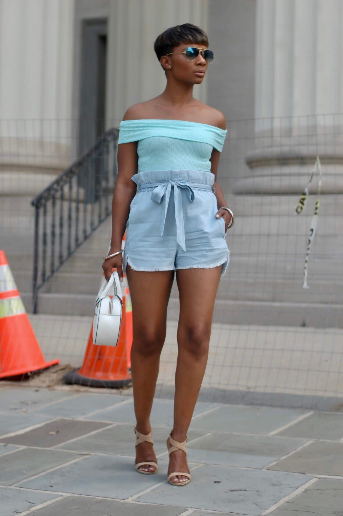 Aqua Striped Off Shoulder Top