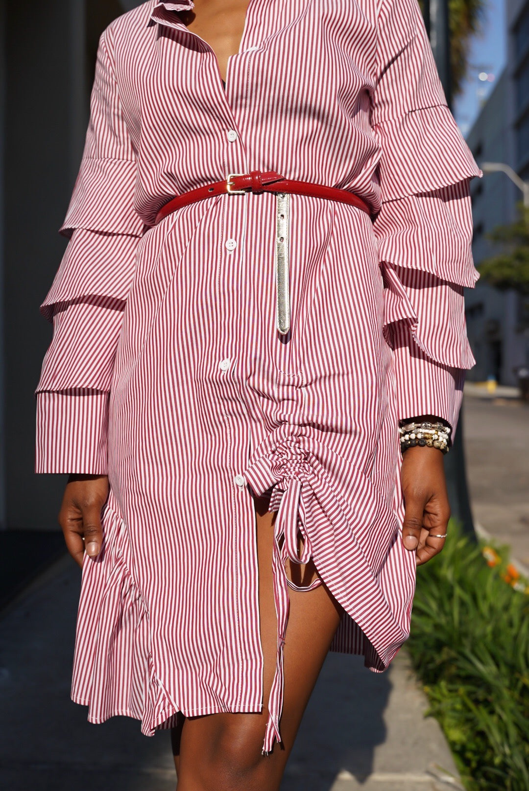 Rouge Red Striped Shirtdress
