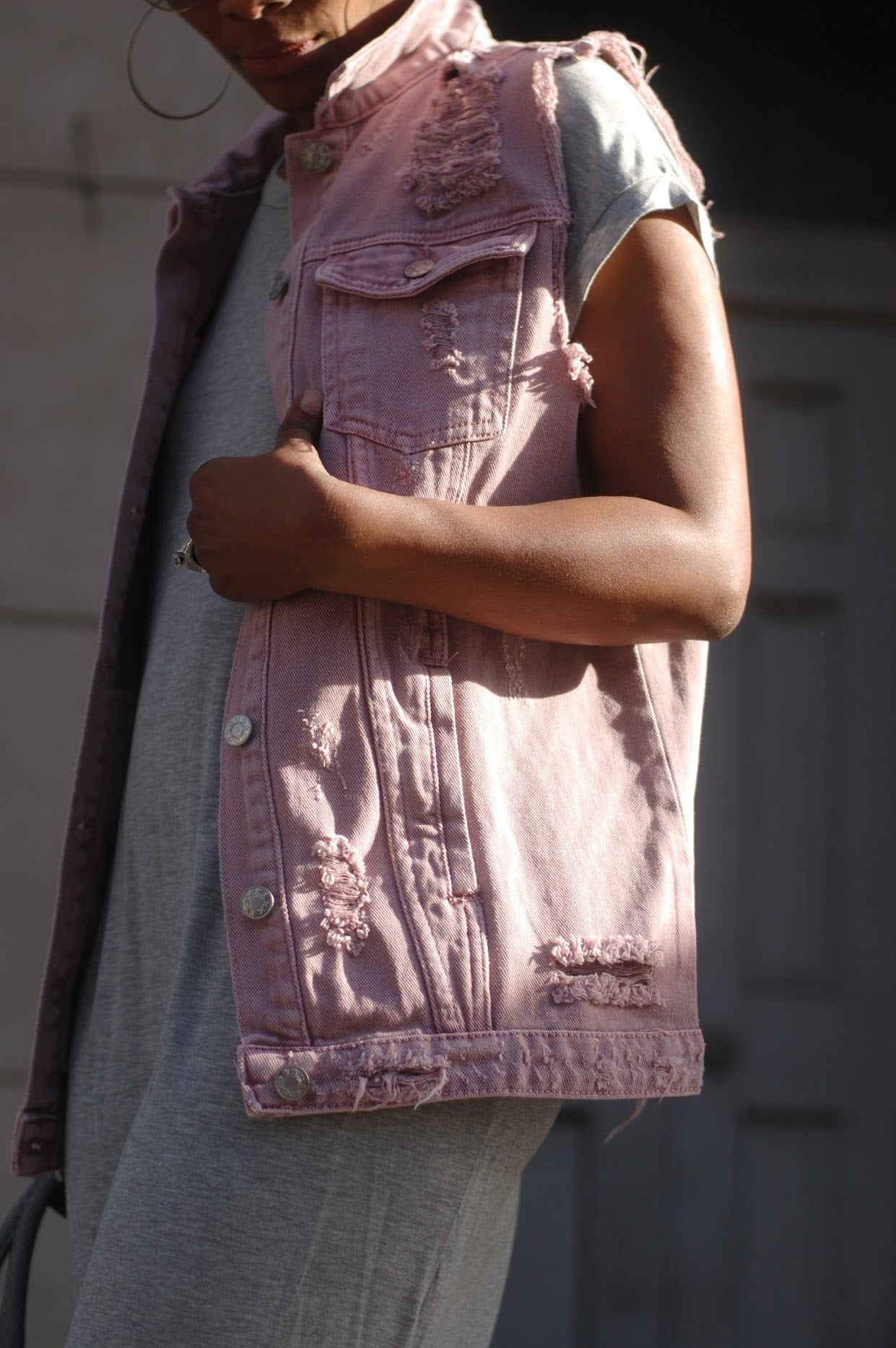 Soft Rose Distressed Vest