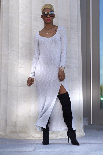 """Heather Grey"" Ribbed Midi"
