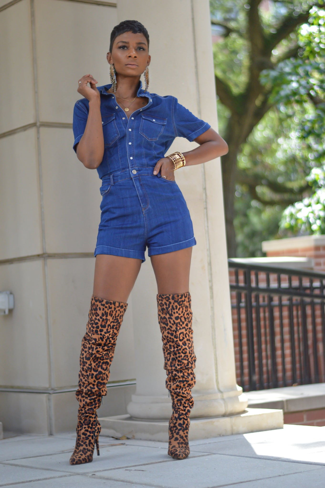 """Signature""Denim Romper"