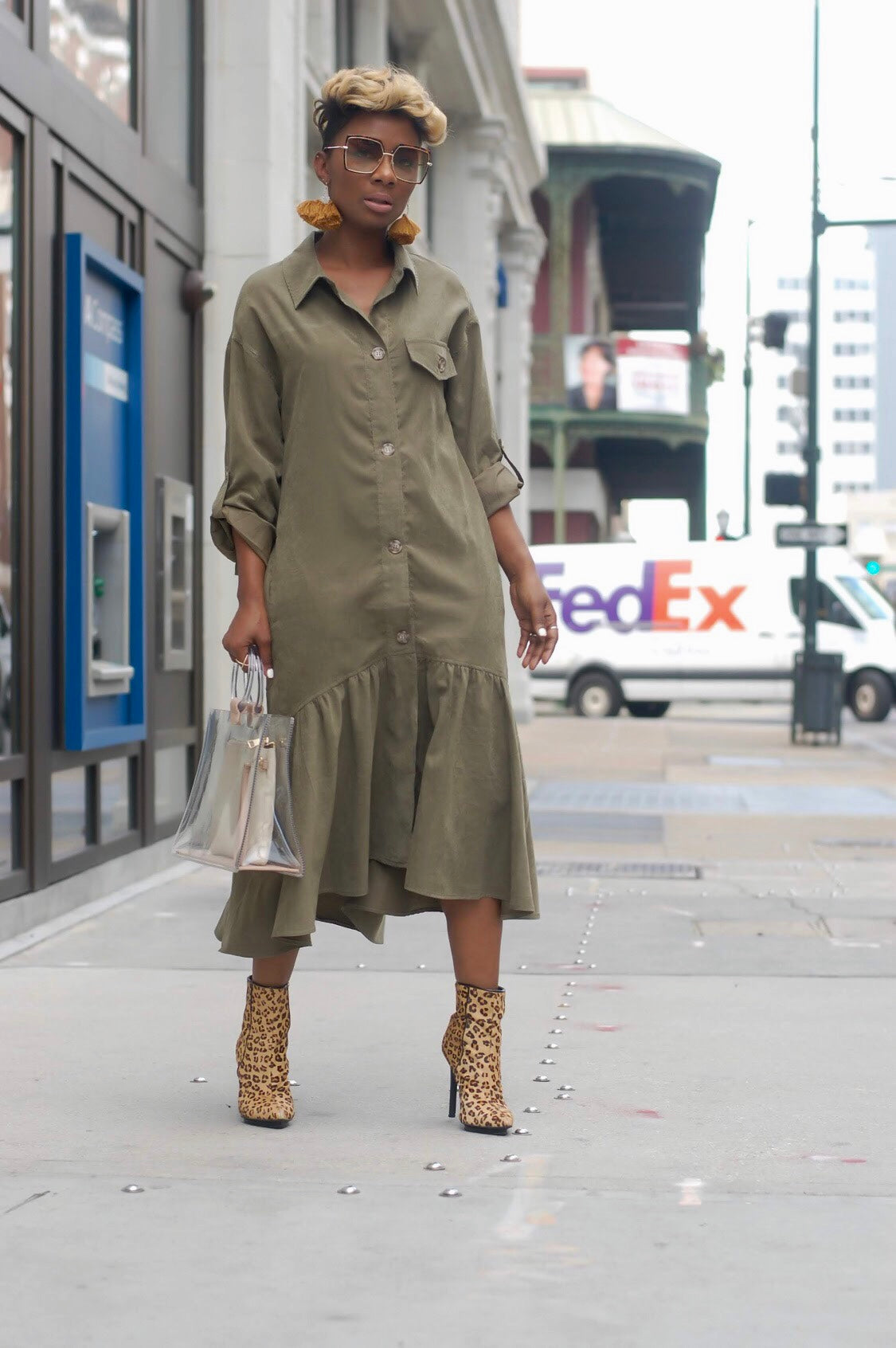 Olive Suede Midi Dress (Limited Quantities)
