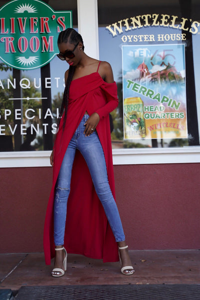 Red Slit Maxi Top