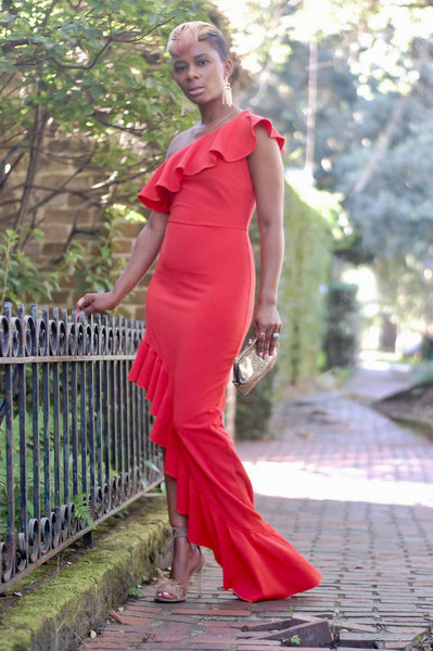 Poppy Red Ruffle Maxi