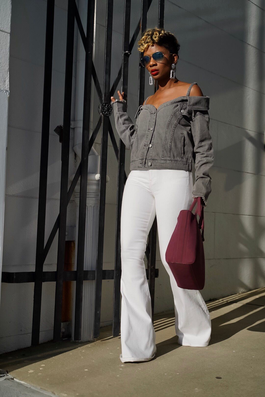 Grey Off Shoulder Jacket