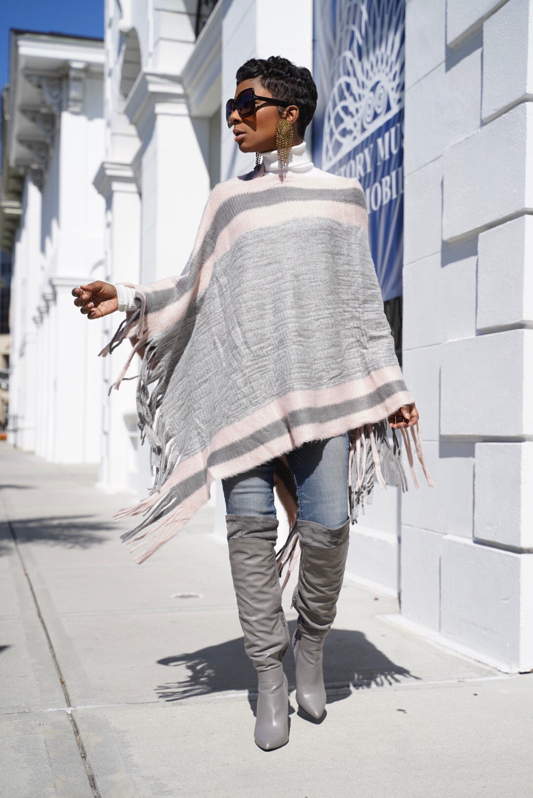 """Heather Pink "" Poncho"