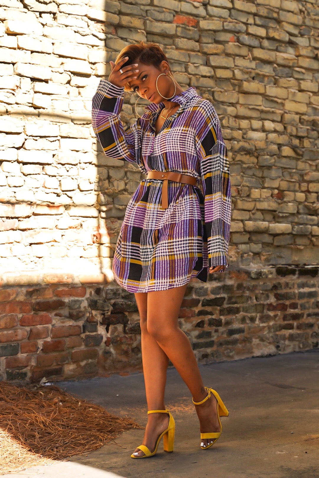 Purple Plaid Shirtdress