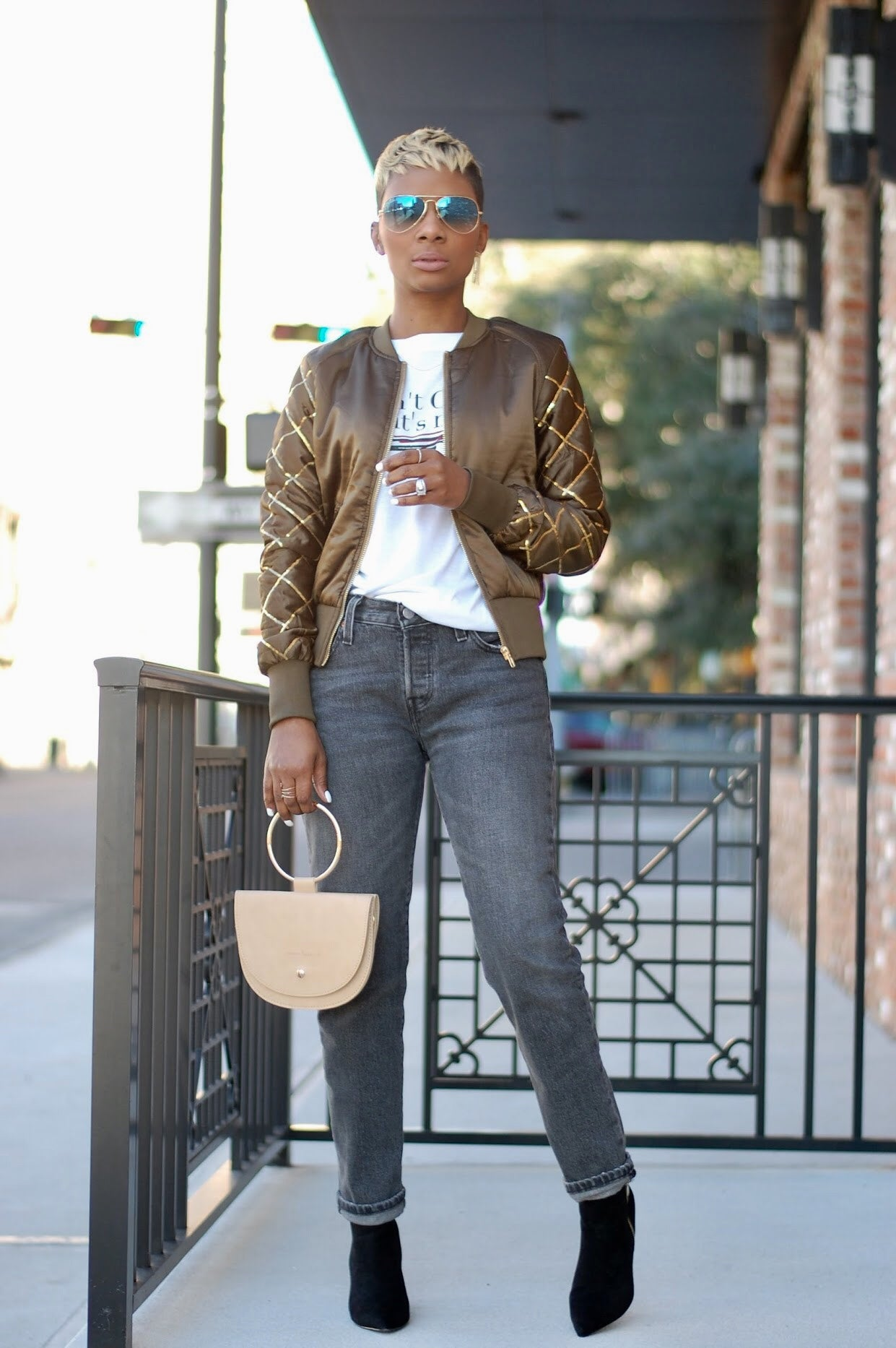Olive Sequin Bomber