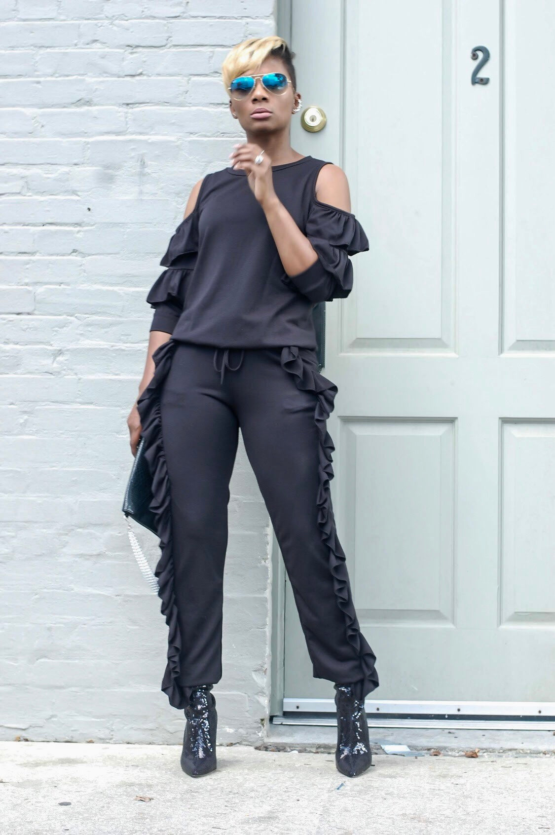 Black Ruffled Sweatsuit
