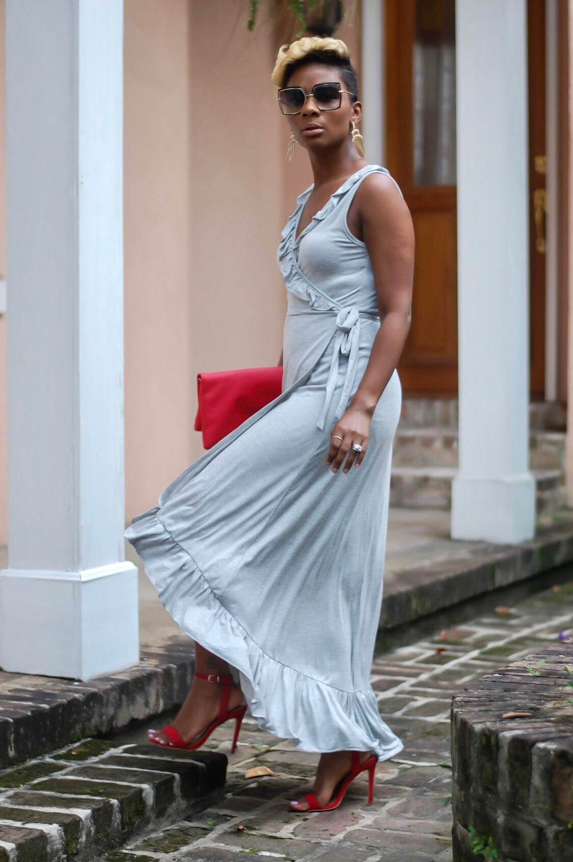 Silver Gray Ruffle Wrap Dress