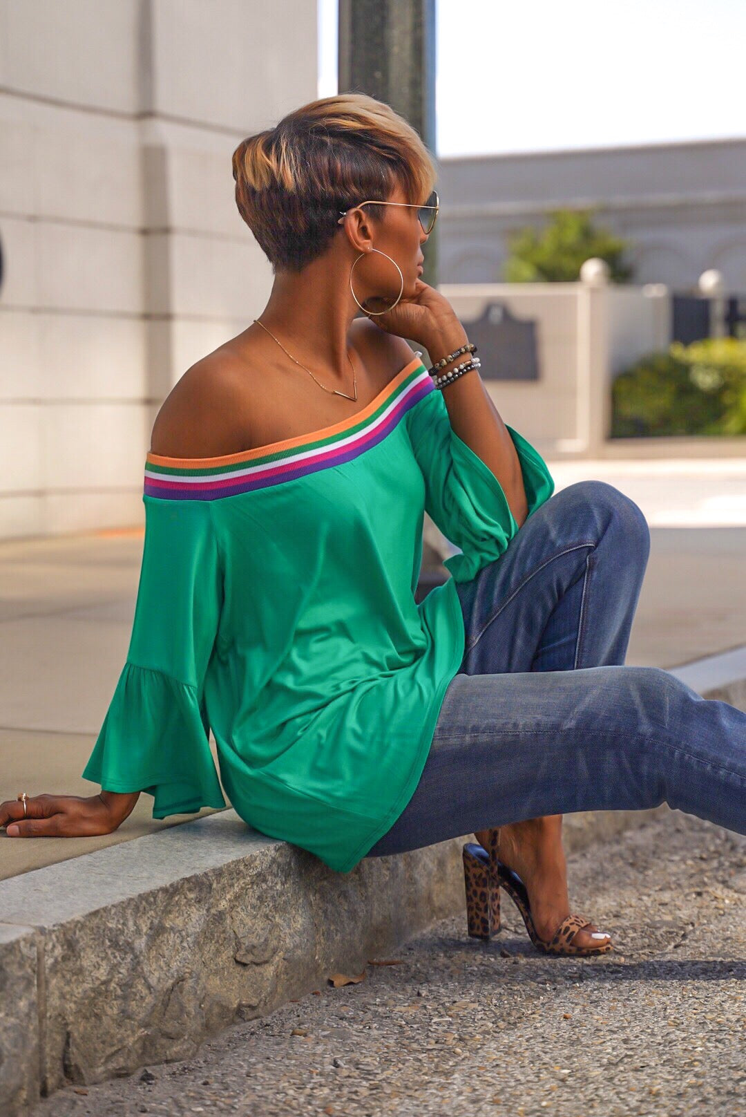 "Green ""Rainbow Remix"" Top"