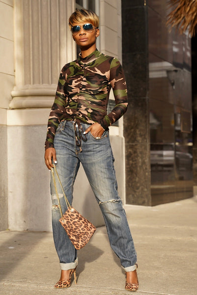Camo Ruched Top