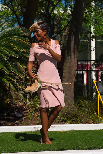 Rose Pink Cold-Shoulder Dress