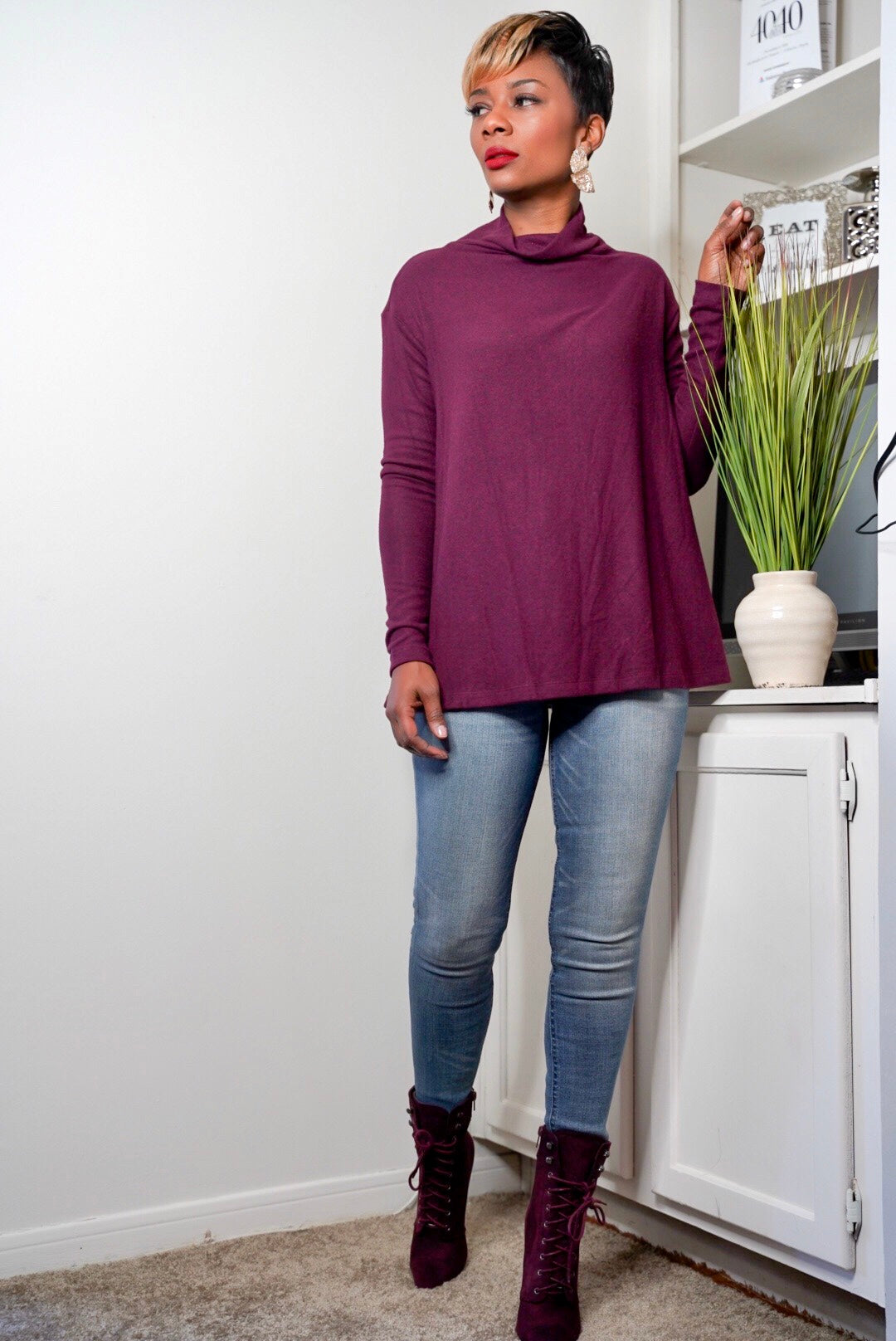 Mulberry Cowl Neck Top