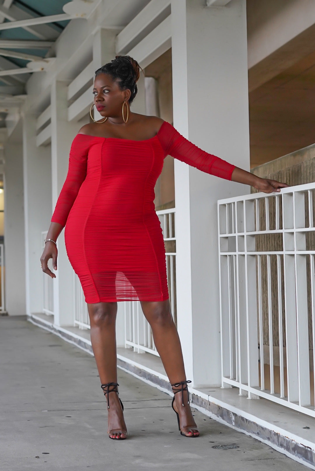 """Sweet Red"" Ruched Midi (Misses & Curvy)"