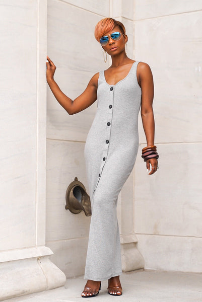 Heather Grey Button Dress