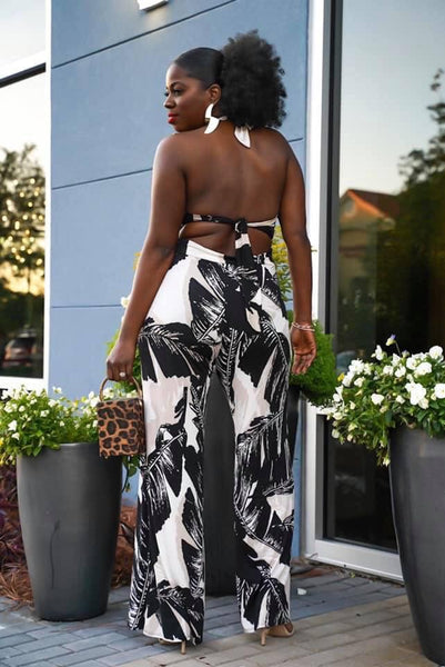 Curvy Palm Print Jumpsuit