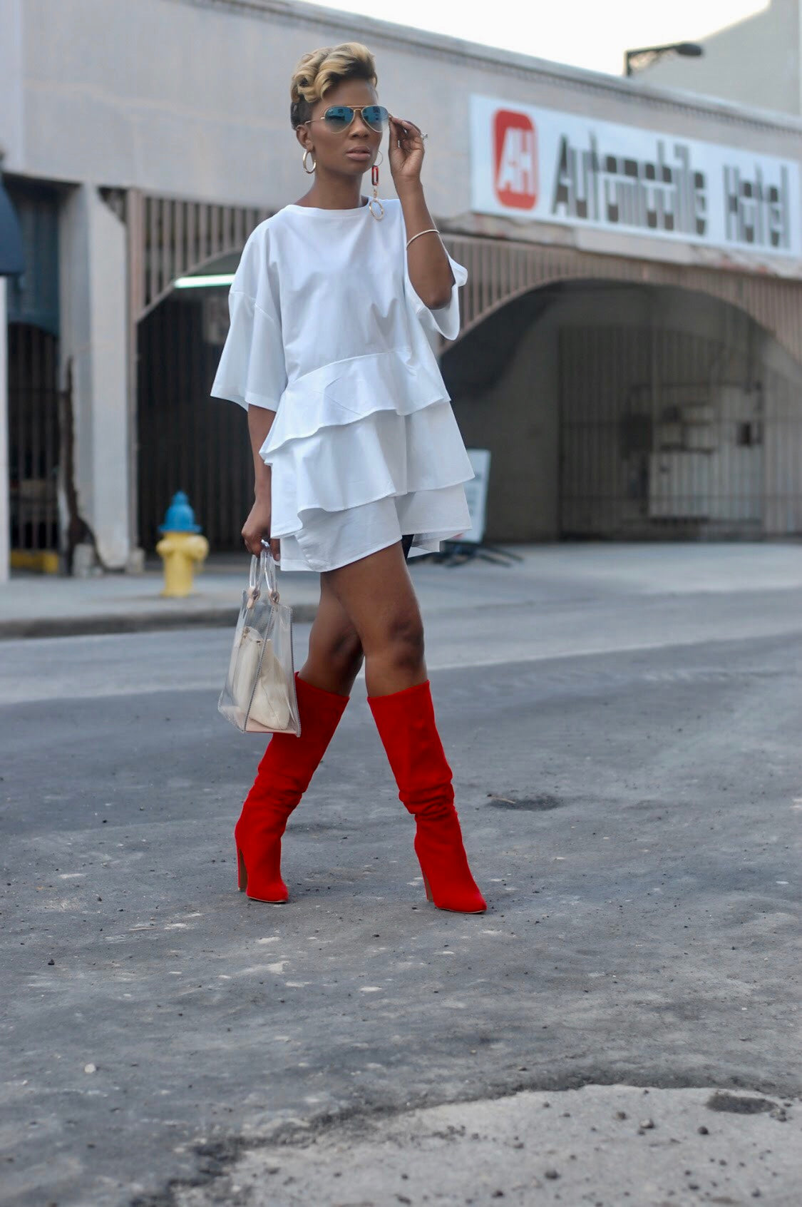 White Ruffled Tunic Dress