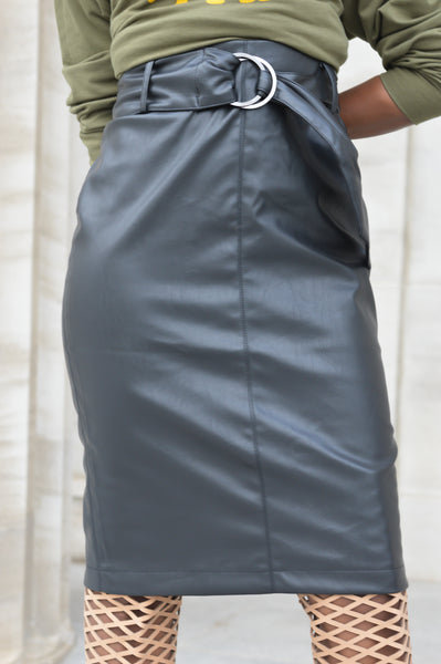 """In Command"" Leather Skirt"