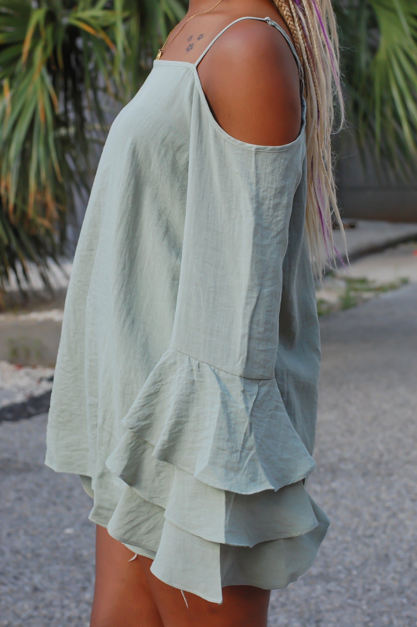 """Soft Sage"" Cold-Shoulder Top"