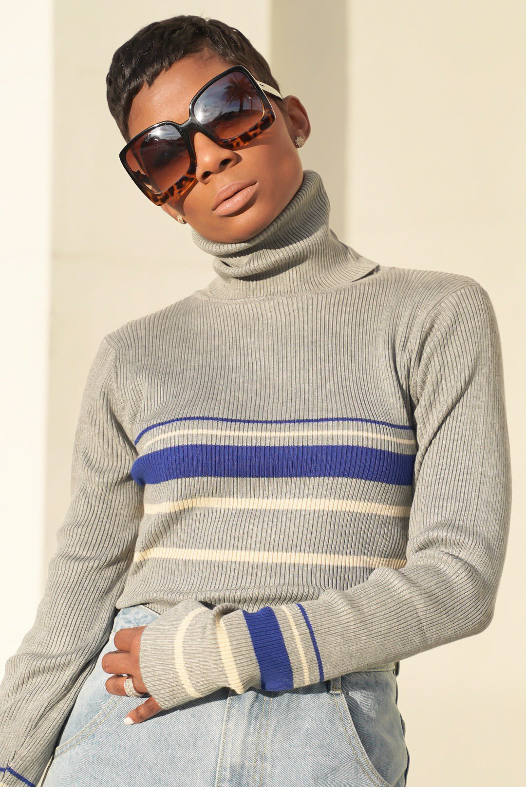 """Splendid"" Striped Turtleneck"