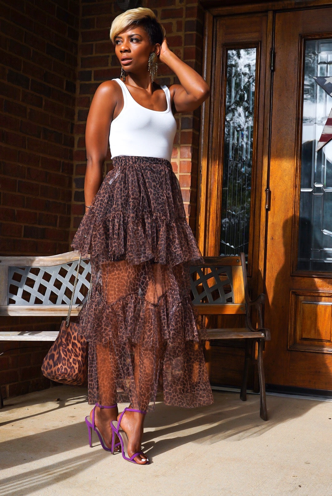 Leopard Sheer Skirt