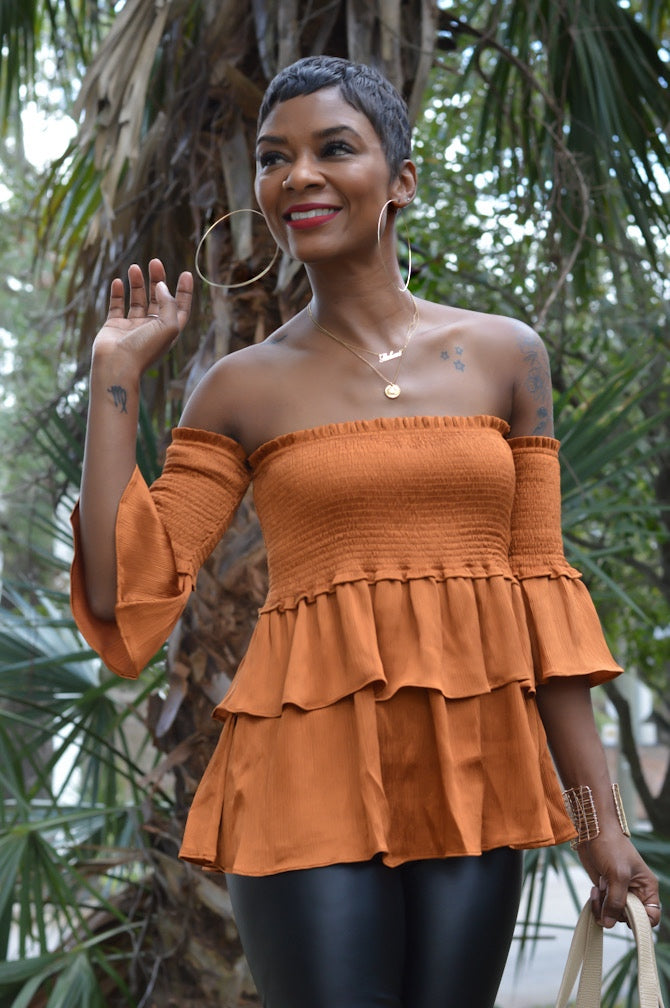 """Satin Rust"" Smocked Top"