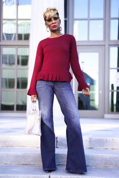Wine Peplum Sweater